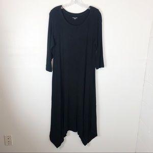 Eileen Fisher Black Knit Handkerchief Hem Dress M